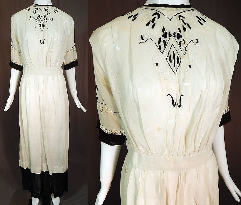 Edwardian Black White Muslin Cotton Arts & Crafts Embroidered Lace Dress