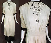 Edwardian Black White Muslin Cotton Arts & Crafts Embroidered Lace Dress Vtg