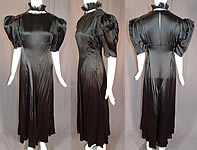 Vintage 1940s Black Silk Charmeuse Lace Ruffle High Collar Bias Cut Cocktail Dress