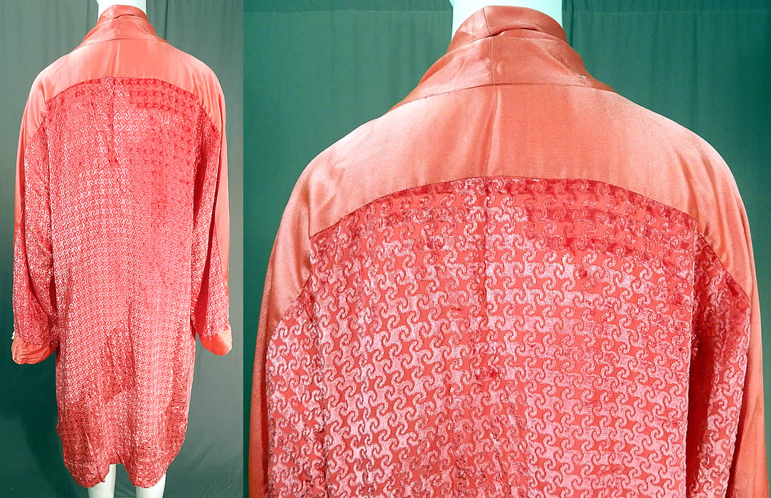 Vintage Art Deco Pink Burnout Voided Velvet Devore Flapper Kimono Robe Coat
