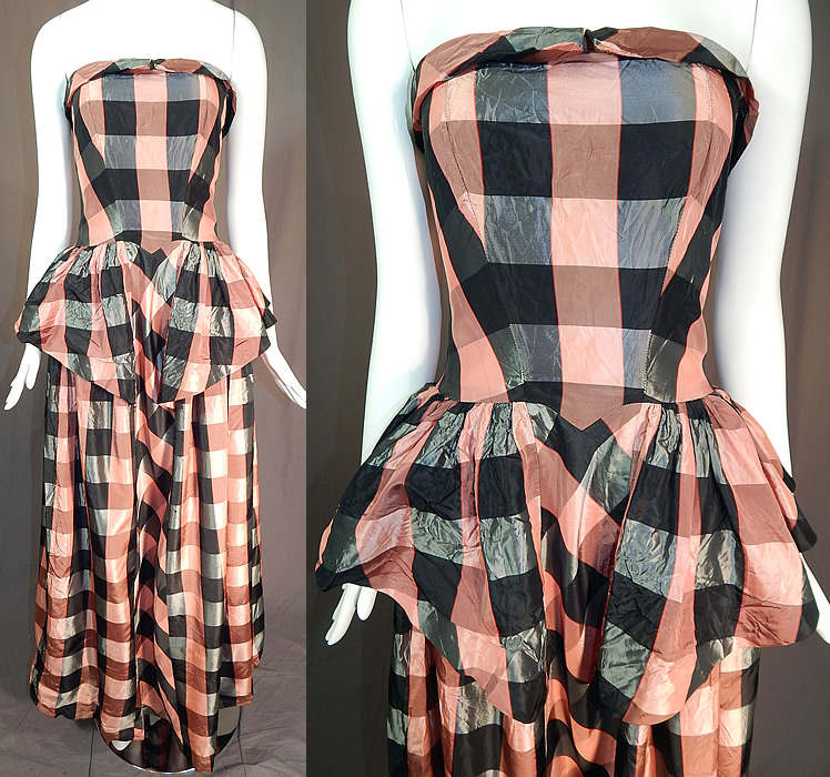 Vintage Pink & Black Plaid Check Taffeta Strapless Peplum Maxi Dress Evening Gown