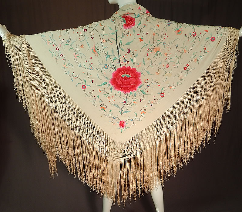 Antique Cream Silk Pastel Embroidered Pink Floral Roses Canton Piano Shawl