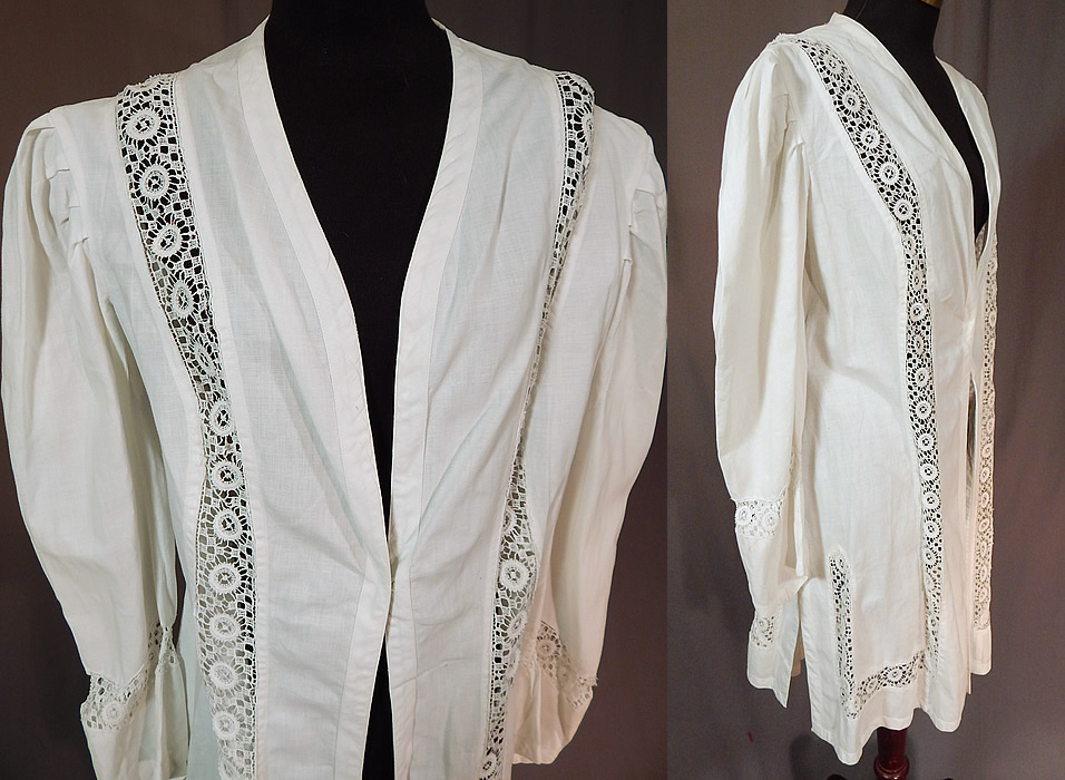 Edwardian Womens White Linen Lace Trim Walking Suit Jacket Coat
