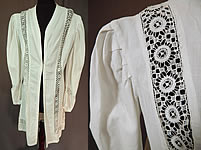 Edwardian Vintage Womens White Linen Lace Trim Walking Suit Jacket Coat