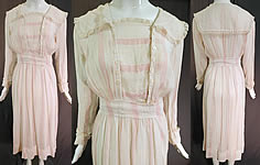 Edwardian Vintage White Cotton Pink Stripe Sailor Collar Middy Top Tea Dress