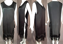 Vintage Black Silk Crepe de Chine Knotted Fringe Flapper Tabard Tunic Dress