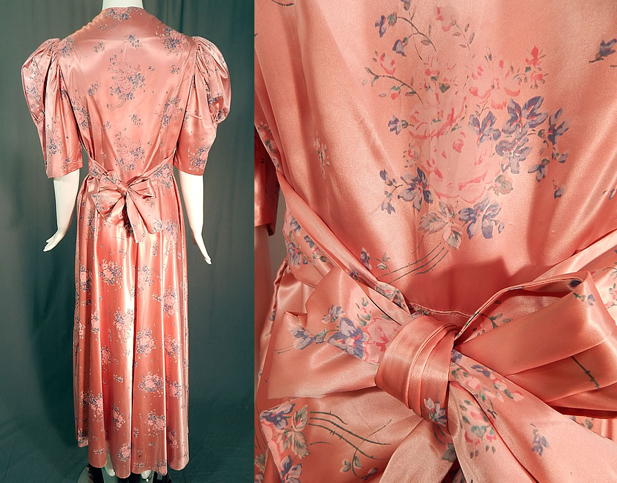 Vintage Pink Pastel Floral Rose Bouquet Print Satin Maxi Dress Gown