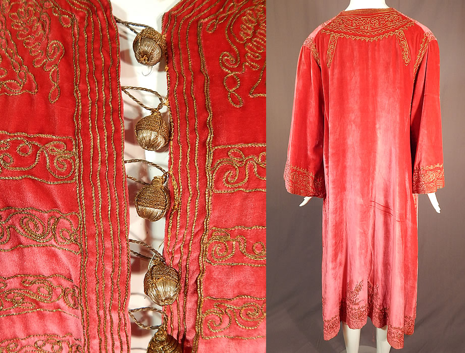 Vintage B. Altman & Co Turkish Ottoman Pink Velvet Gold Embroidered Kaftan Robe