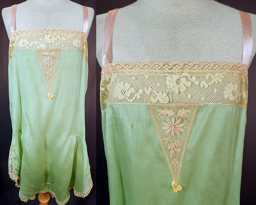 Vintage Mint Green Silk Rosette Lace Lingerie Flapper Chemise Camiknicker Teddy
