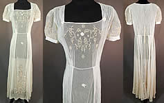 Vintage White Tulle Net Pintuck Pleat Embroidered Lace Applique Maxi Dress
