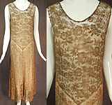 Vintage Gold Metallic Lamé Lame Lace Drop Waist Flapper Dress & Gray Silk Slip