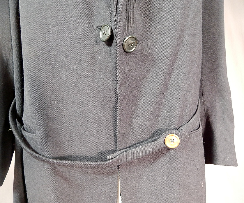 Edwardian Black Wool Belted Winter Walking Suit Jacket Coat