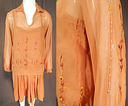 Vintage Brown Cotton French Knot Embroidery Boho Peasant Slip Dress & Blouse