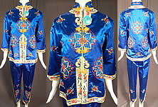 Vintage Bai hua Chinese Blue Silk Rayon Embroidered Pajamas Pants Robe NWT