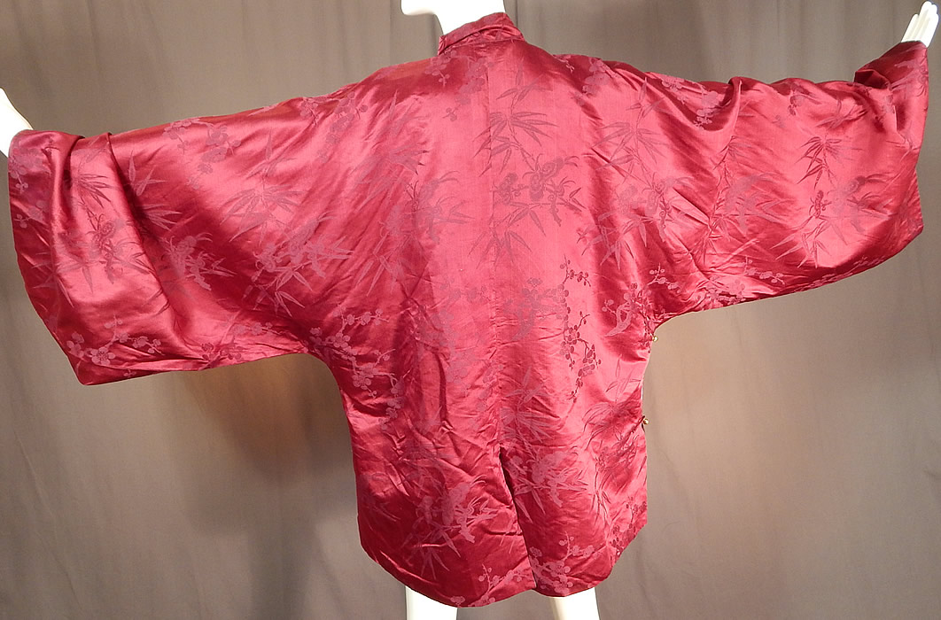 Antique Chinese Red Silk Damask Cherry Blossom Bamboo Brocade Magua Robe