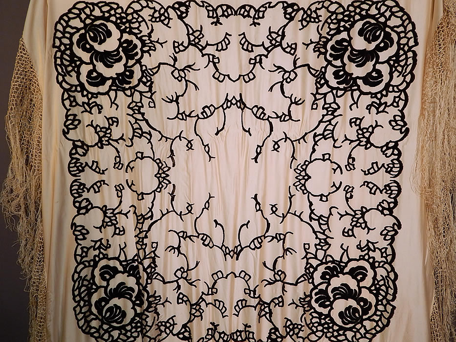 Art Deco Black & White Silk Floral Devore Burnout Voided Velvet Flapper Piano Shawl