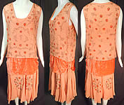 Vintage Art Deco Orange Silk Velvet Applique Rhinestone Beaded Flapper Dress