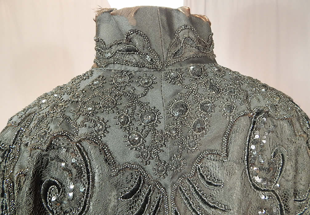 Victorian Hubert & Riqueur Paris Label Black Silk Lace Jet Beaded Mantle Cloak Cape