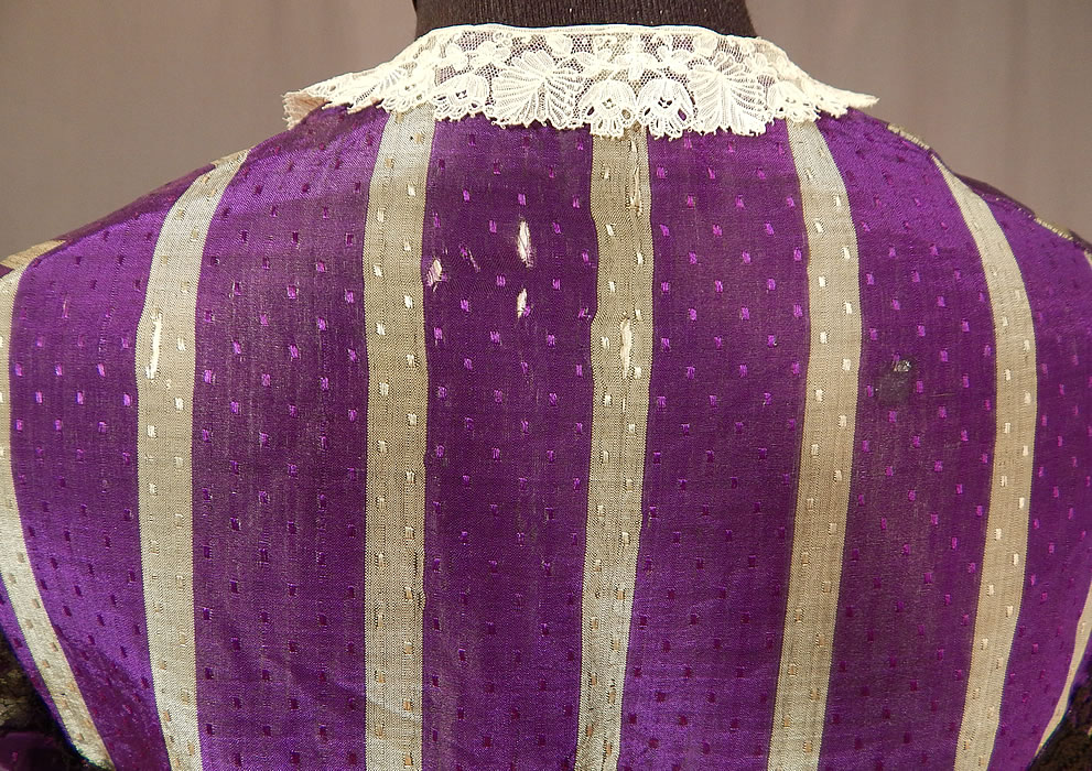 Victorian Civil War Era Purple & Gray Stripe Silk Taffeta Hoop Skirt Belted Dress