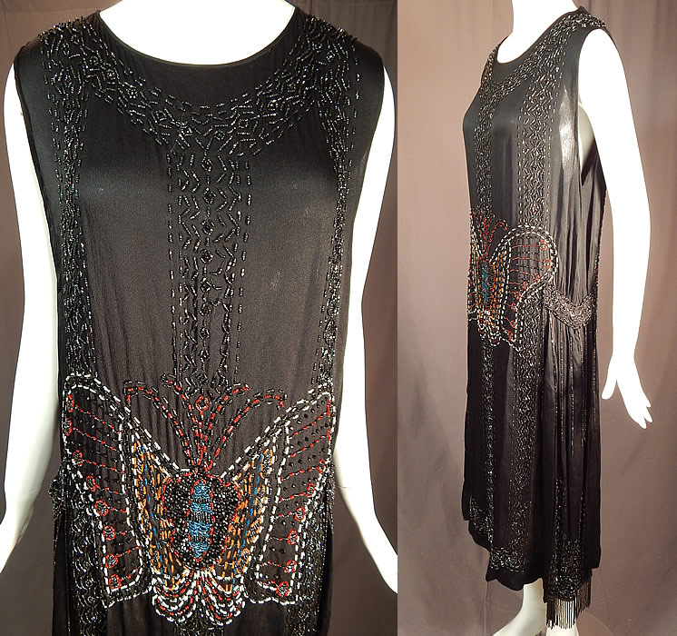 Vintage Art Deco Black Silk Colorful Beaded Butterfly Fringed Flapper Dress