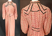 Victorian Pink Polka Dot Jacobean Print Flannel Wrapper Workwear Morning Dress