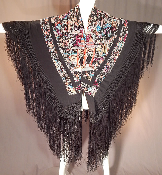 Antique Colorful Heavily Embroidered Chinese Temple Shrine Bird Canton Piano Shawl