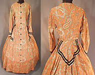 VVictorian Civil War Era Paisley Wool Hoop Skirt Morning Wrapper Gown Dress