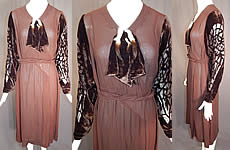 Vintage Brown Silk Crepe Devore Voided Velvet Beaded Sleeve Bias Cut Dress