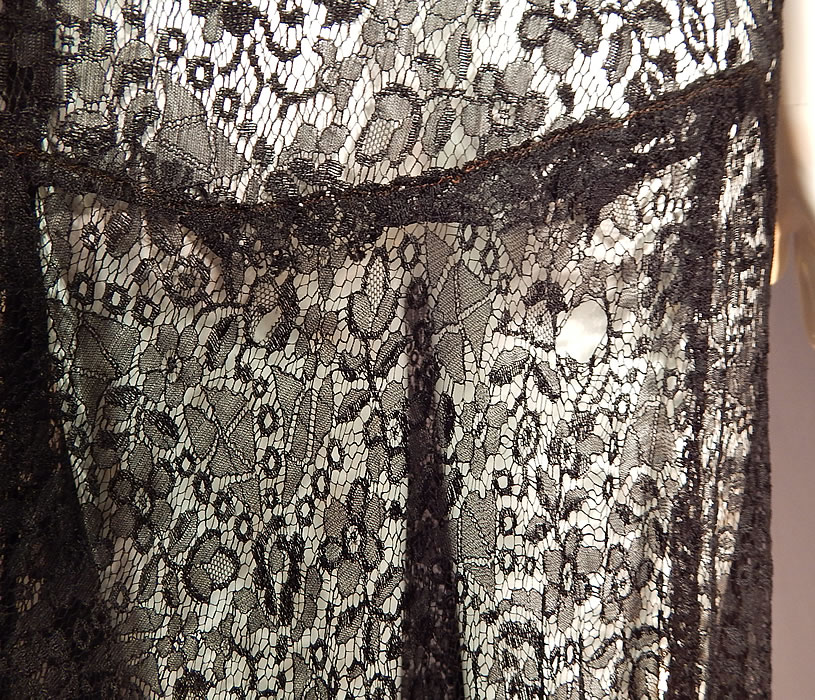 Vintage Art Deco Black Lace Net Floral Pattern Beaded Drop Waist Flapper Dress