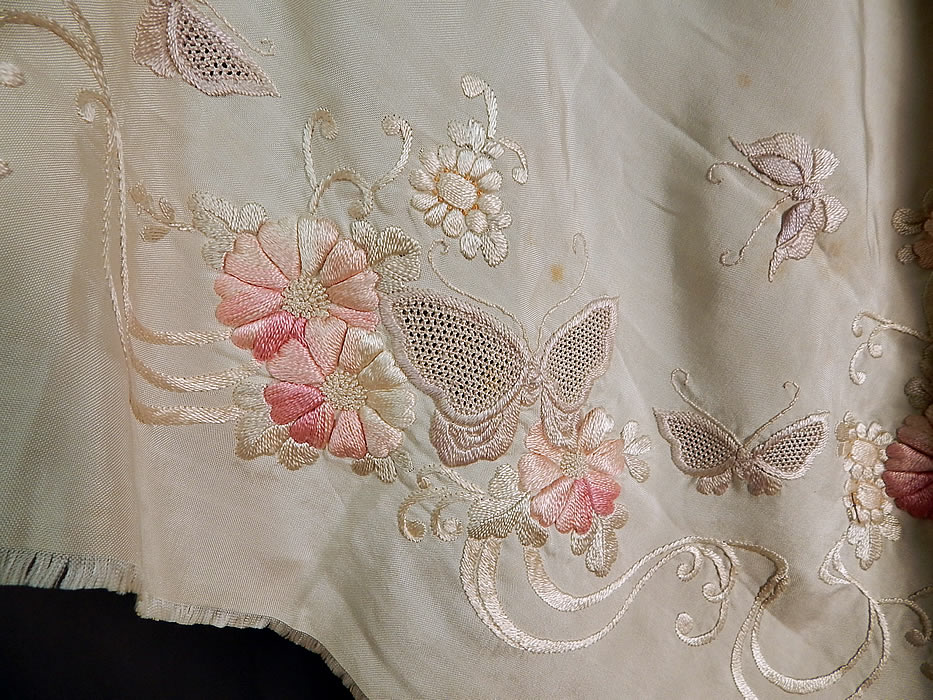 Vintage Japanese Silk Drawn Work Embroidered Floral Butterfly Shawl Scarf Stole