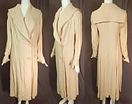 Vintage 20s Ecru Linen Sailor Shawl Collar Womens Duster Driving Motoring Coat