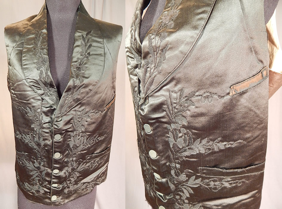 Victorian Gentleman's Black Silk Floral Leaf Embroidered Mourning Waistcoat Vest