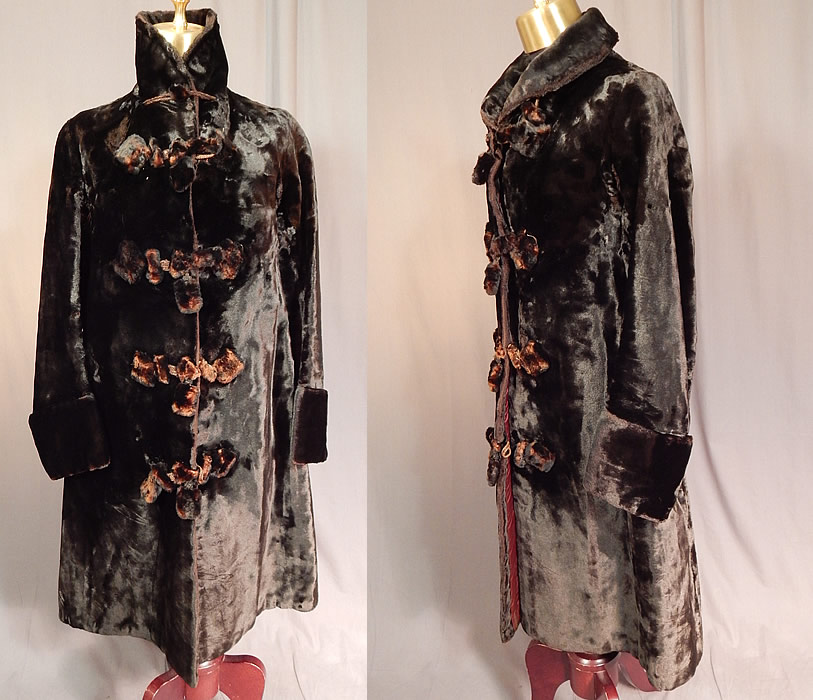 Victorian Womens Plush Velvet Beaver Fur Winter Coat Jacket