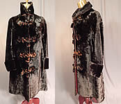 Victorian Womens Vintage Plush Velvet Beaver Fur Winter Coat Jacket