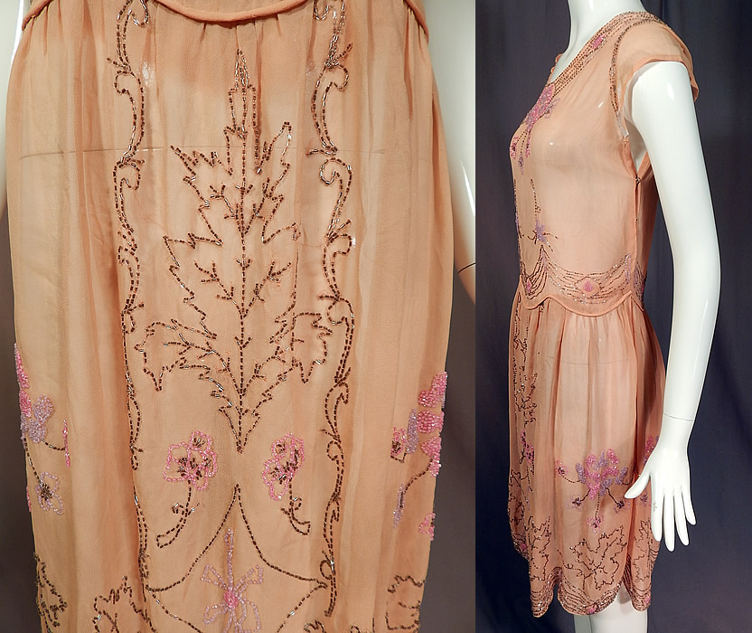 Vintage Art Deco Pink Silk Chiffon Lavender Floral Leaf Beaded Flapper Dress