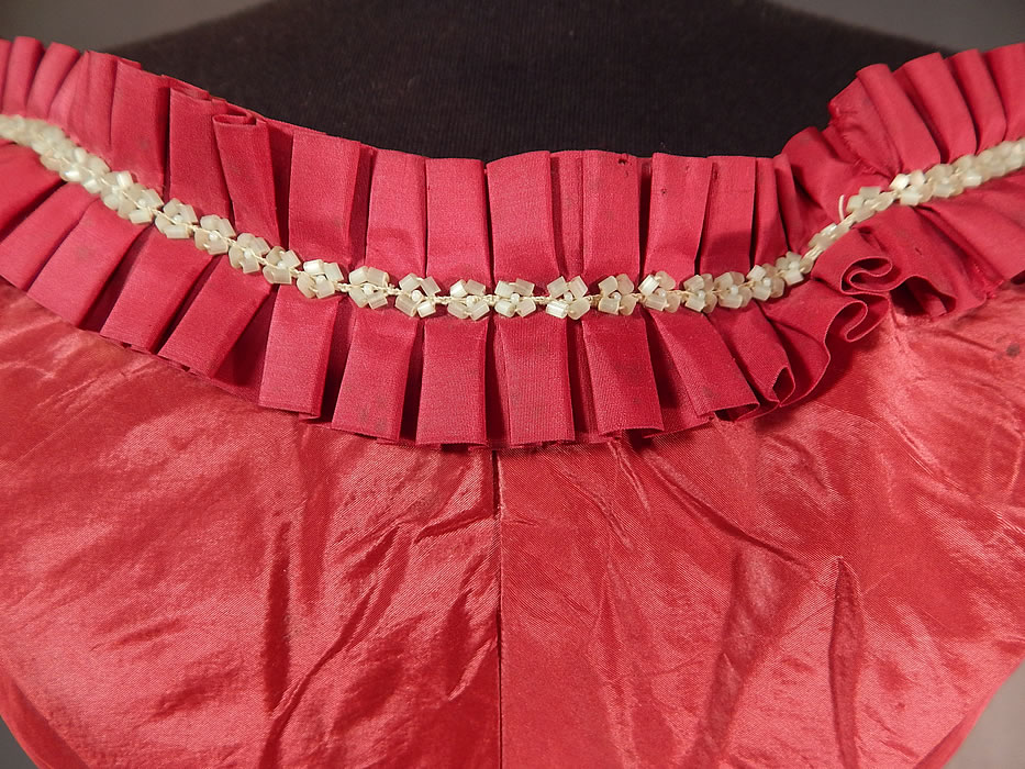 Victorian Civil War Era Red Silk White Beaded Ball Gown Bodice Corset Top