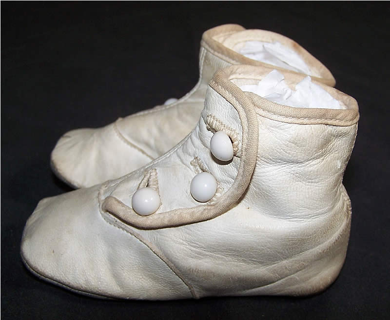 Edwardian White High Button Baby Shoes