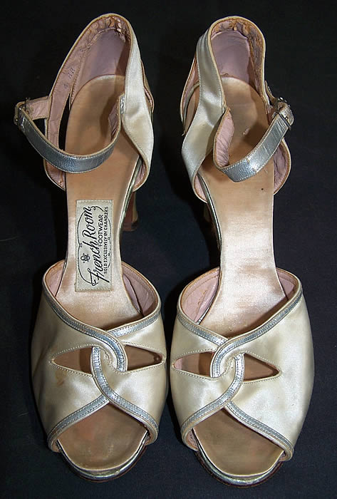 French Room White Satin & Silver Metallic Shoes     Front view.