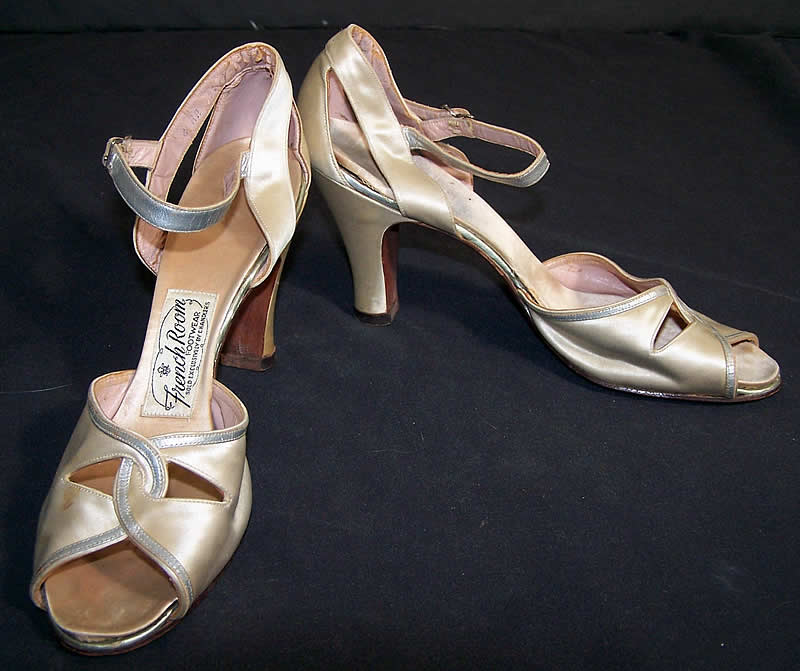French Room White Satin & Silver Metallic Shoes