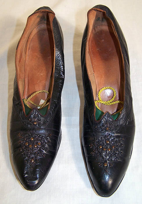 Edwardian Black Leather Bronze Beaded Shoes   Front view.