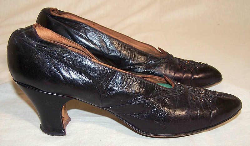 Edwardian Black Leather Bronze Beaded Shoes