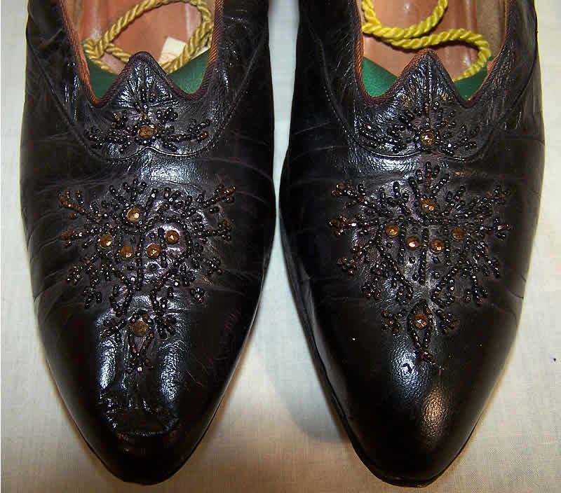 Edwardian Black Leather Bronze Beaded Shoes  Close up.