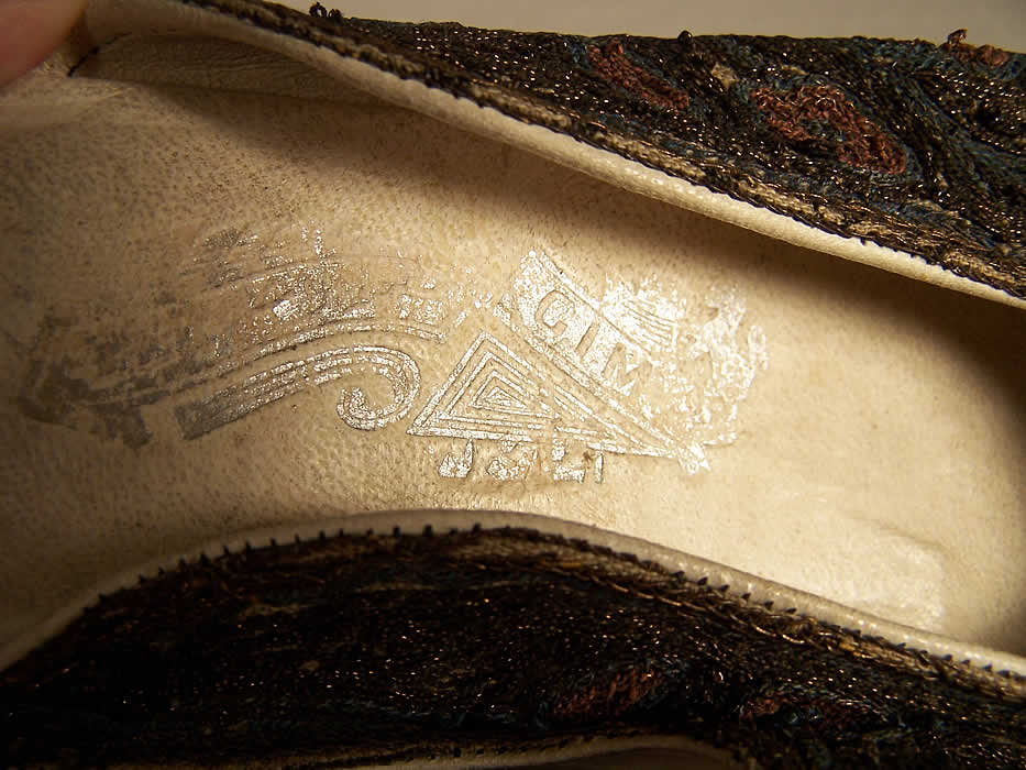 Ottoman Turkish Gold Embroidery Slipper Shoes Close up.