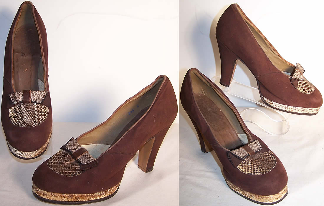 Brown Suede Snakeskin Platform Shoes Front view.