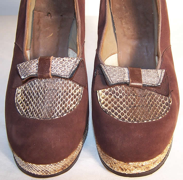Brown Suede Snakeskin Platform Shoes.