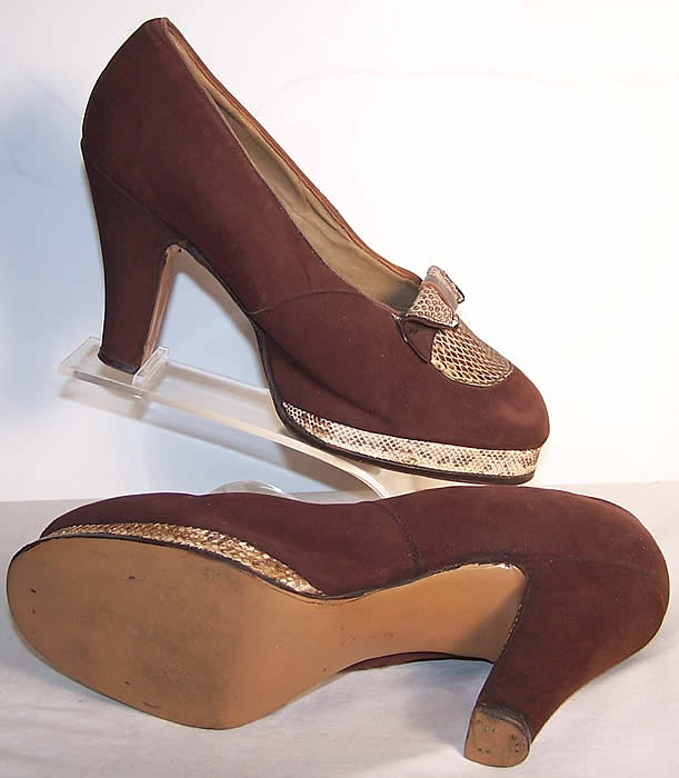 Brown Suede Snakeskin Platform Shoes side view.