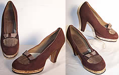 Brown Suede Snakeskin Platform Shoes
