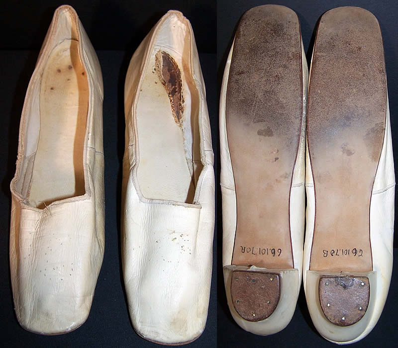 Victorian Wedding White Kid Straight Sole Shoes Close up.