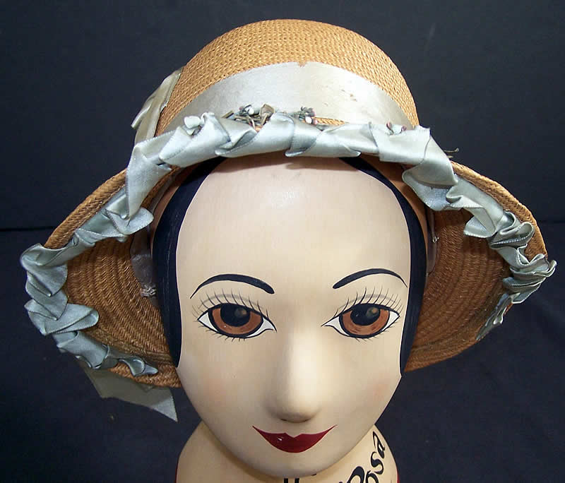 Natural Straw & Blue Silk Ribbon Cloche Hat     Front view.