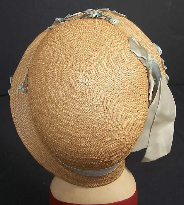 Natural Straw & Blue Silk Ribbon Cloche Hat    Close up.